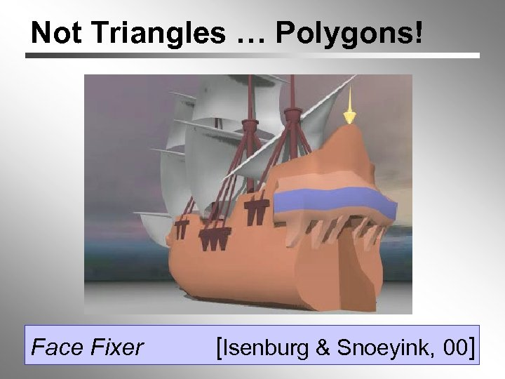 Not Triangles … Polygons! Face Fixer [Isenburg & Snoeyink, 00]