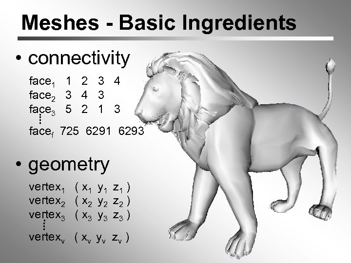 Meshes - Basic Ingredients • connectivity face 1 1 2 3 4 face 2