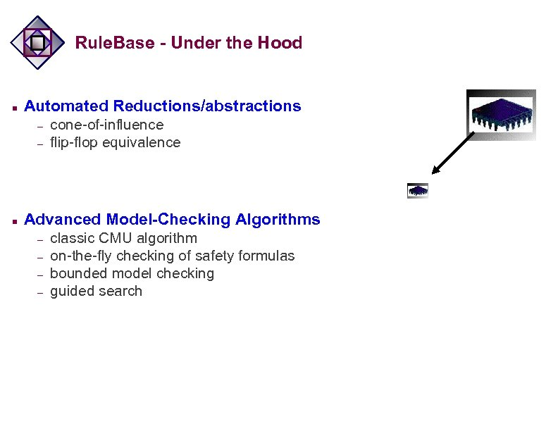 Rule. Base - Under the Hood n Automated Reductions/abstractions – – n cone-of-influence flip-flop