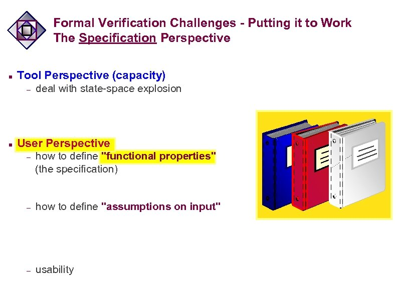 Formal Verification Challenges - Putting it to Work The Specification Perspective n Tool Perspective