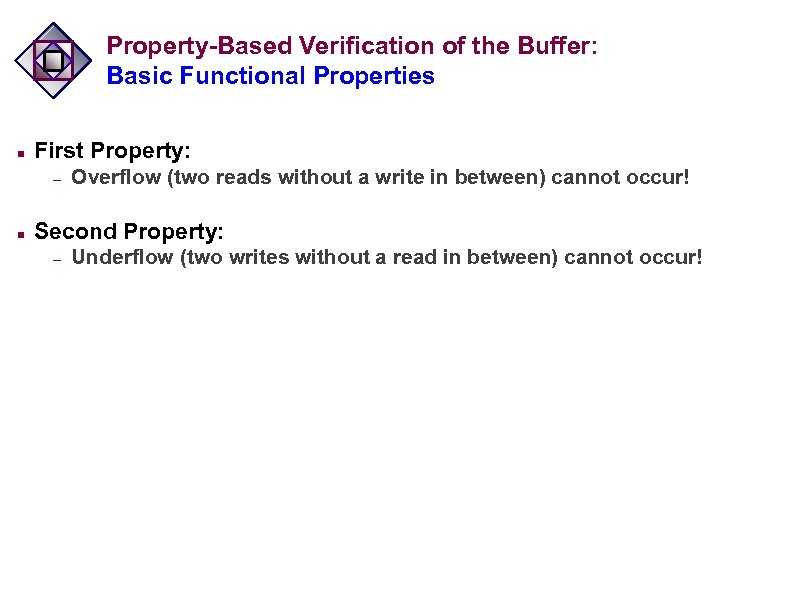 Property-Based Verification of the Buffer: Basic Functional Properties n First Property: – n Overflow