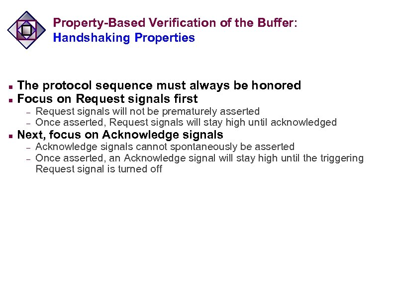 Property-Based Verification of the Buffer: Handshaking Properties n n The protocol sequence must always