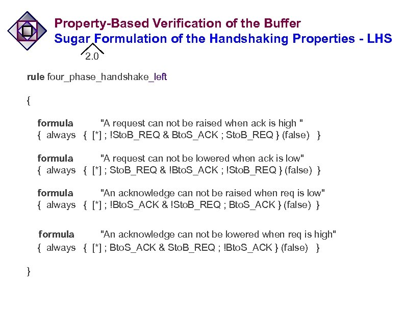 Property-Based Verification of the Buffer Sugar Formulation of the Handshaking Properties - LHS 2.