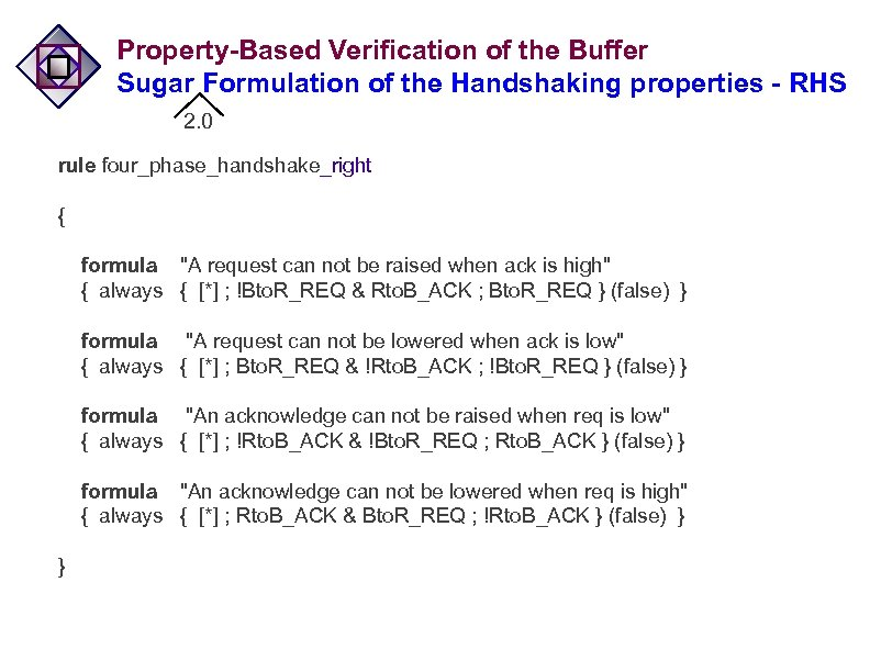 Property-Based Verification of the Buffer Sugar Formulation of the Handshaking properties - RHS 2.