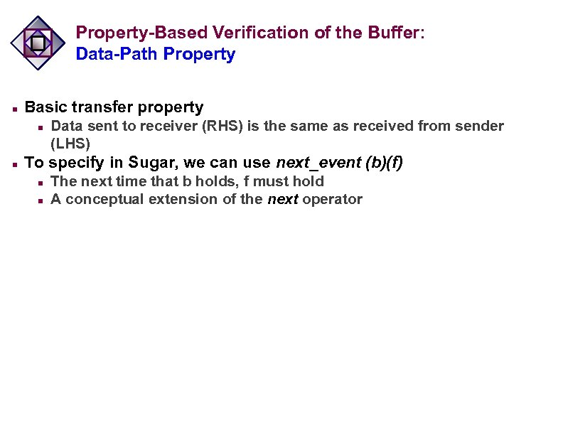 Property-Based Verification of the Buffer: Data-Path Property n Basic transfer property n n Data