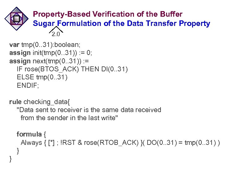 Property-Based Verification of the Buffer Sugar Formulation of the Data Transfer Property 2. 0
