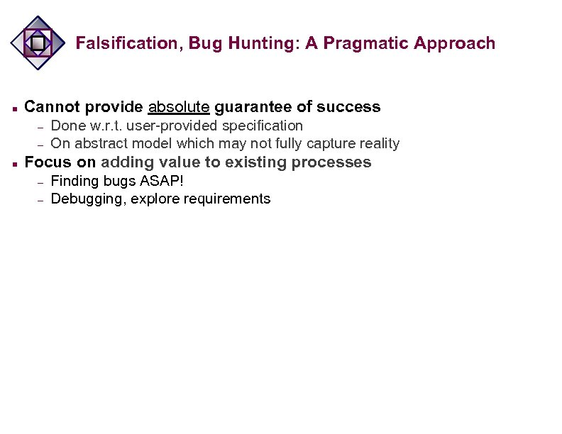 Falsification, Bug Hunting: A Pragmatic Approach n Cannot provide absolute guarantee of success –