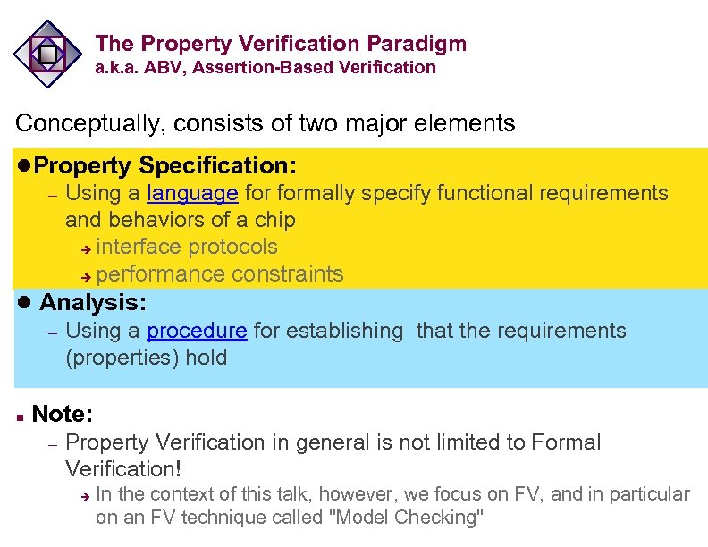 The Property Verification Paradigm a. k. a. ABV, Assertion-Based Verification Conceptually, consists of two