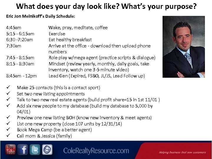 What does your day look like? What's your purpose? Eric Jon Melnikoff's Daily Schedule: