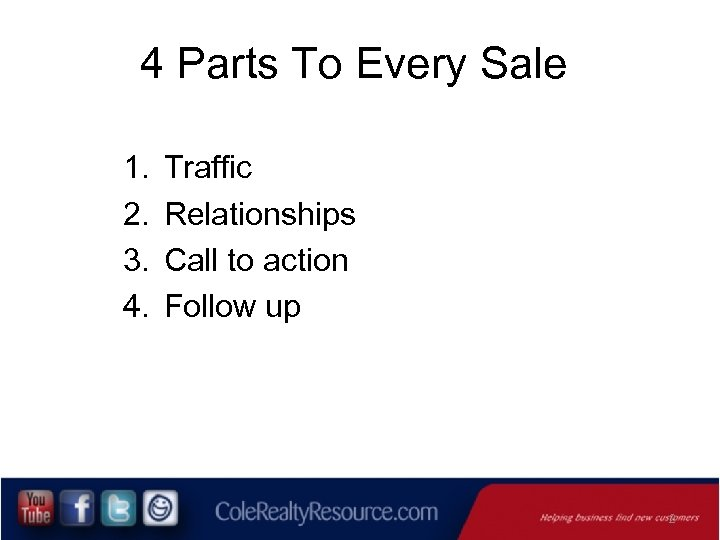 4 Parts To Every Sale 1. 2. 3. 4. Traffic Relationships Call to action