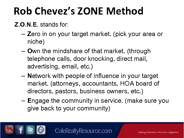 Rob Chevez's ZONE Method Z. O. N. E. stands for: – Zero in on