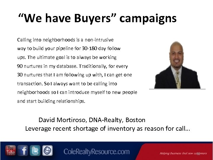 """""""We have Buyers"""" campaigns Calling into neighborhoods is a non-intrusive way to build your"""