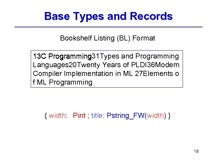 Base Types and Records Bookshelf Listing (BL) Format 13 C Programming 31 Types and