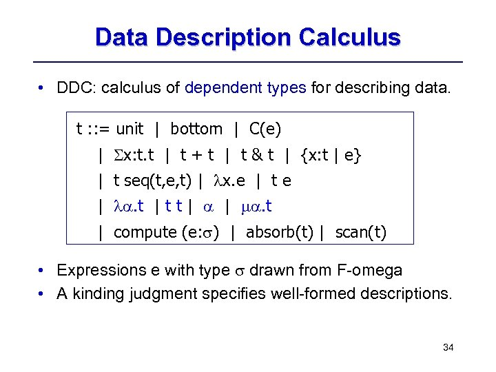 Data Description Calculus • DDC: calculus of dependent types for describing data. t :