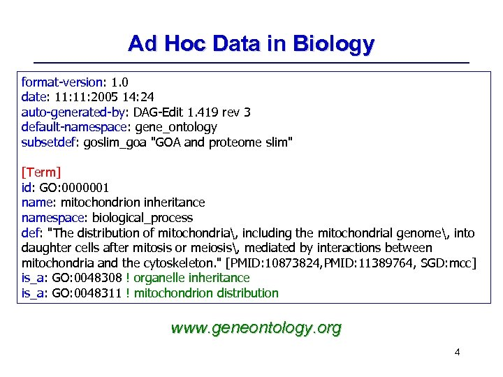 Ad Hoc Data in Biology format-version: 1. 0 date: 11: 2005 14: 24 auto-generated-by: