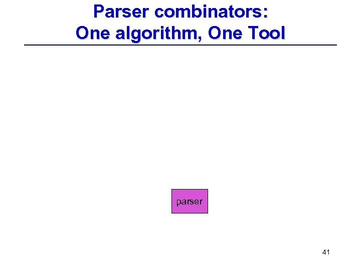 Parser combinators: One algorithm, One Tool parser 41