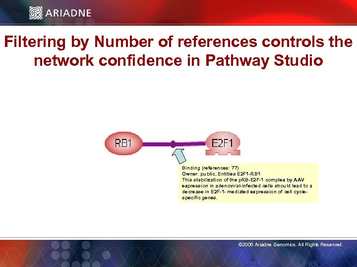 Filtering by Number of references controls the network confidence in Pathway Studio Binding (references: