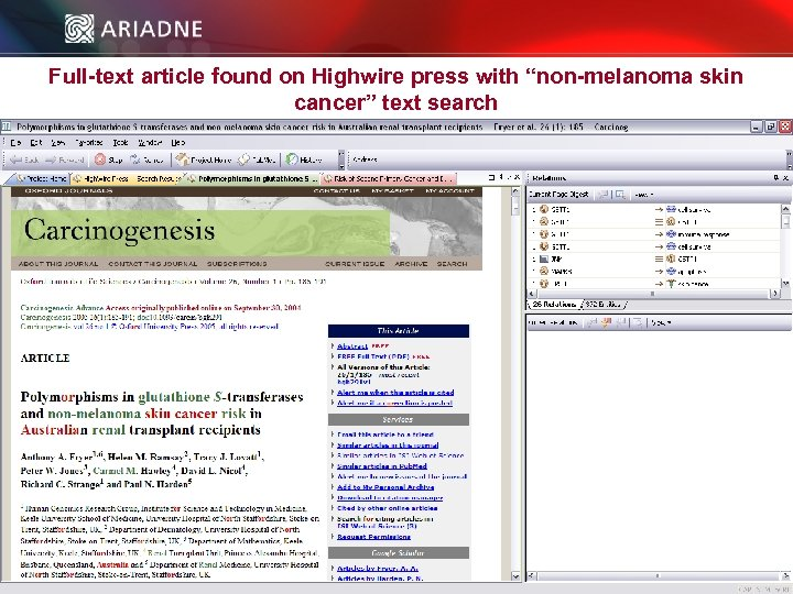 """Full-text article found on Highwire press with """"non-melanoma skin cancer"""" text search © 2006"""