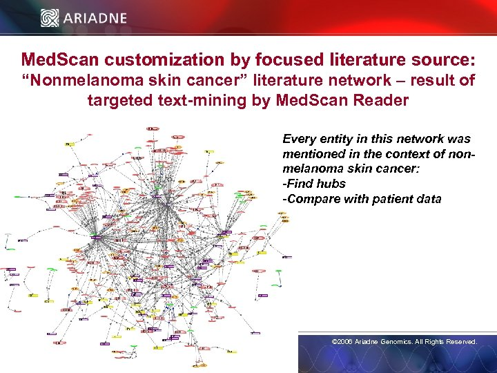 """Med. Scan customization by focused literature source: """"Nonmelanoma skin cancer"""" literature network – result"""