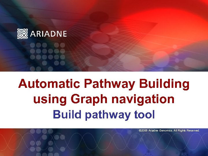 Automatic Pathway Building using Graph navigation Build pathway tool © 2006 Ariadne Genomics. All