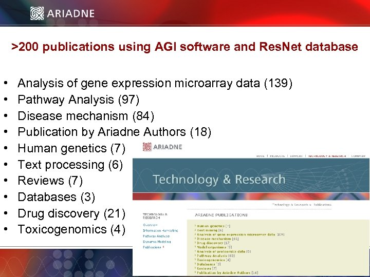 >200 publications using AGI software and Res. Net database • • • Analysis of
