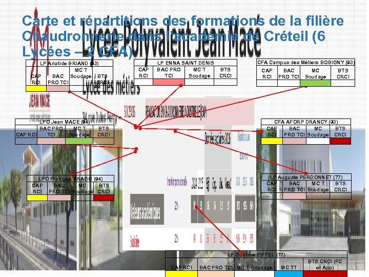 Carte et répartitions des formations de la filière Chaudronnerie dans l'académie de Créteil (6