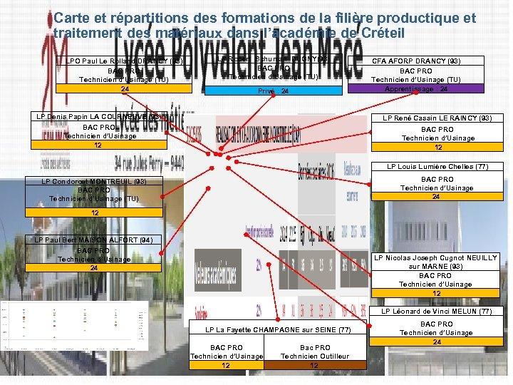 Carte et répartitions des formations de la filière productique et traitement des matériaux dans