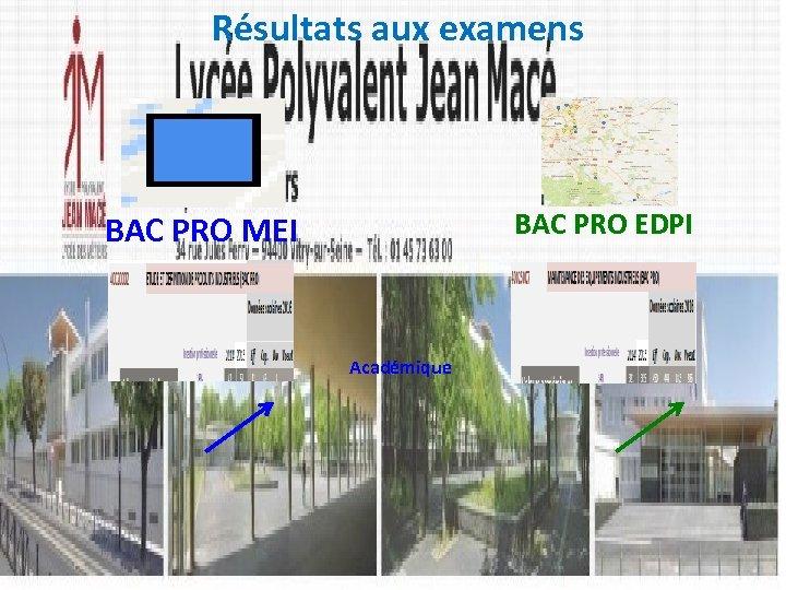 Résultats aux examens BAC PRO EDPI BAC PRO MEI Académique