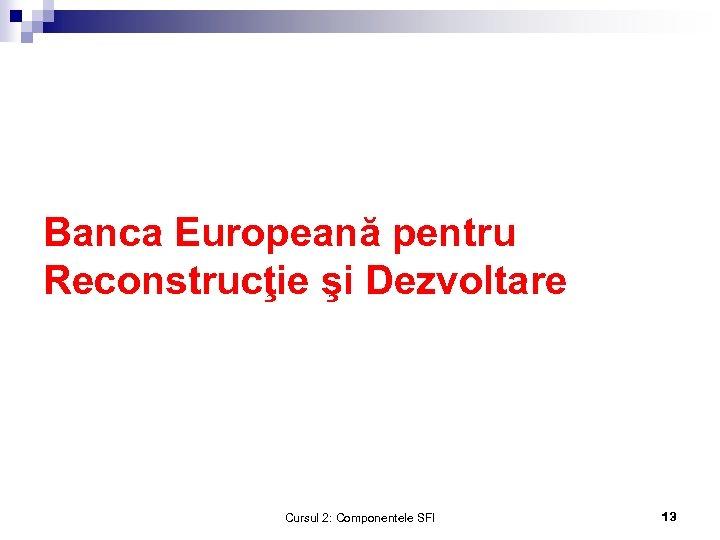 Banca Europeană pentru Reconstrucţie şi Dezvoltare Cursul 2: Componentele SFI 13