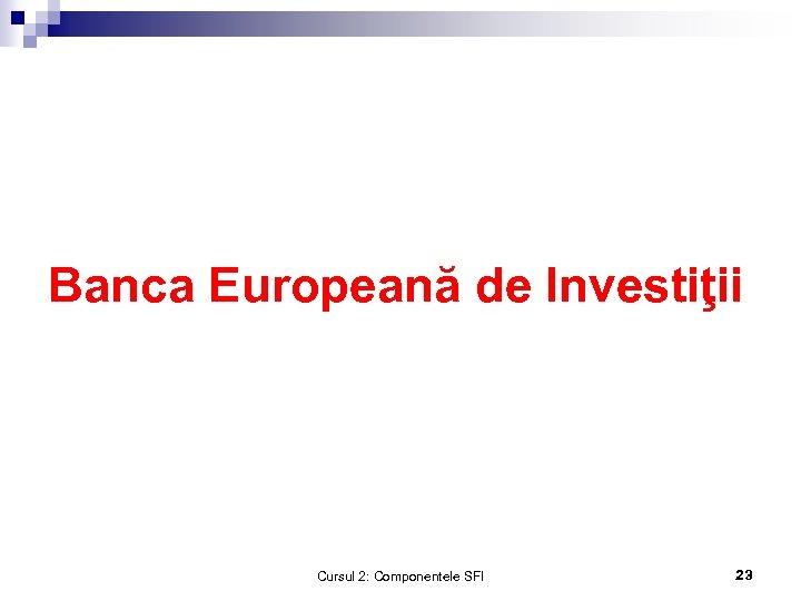 Banca Europeană de Investiţii Cursul 2: Componentele SFI 23