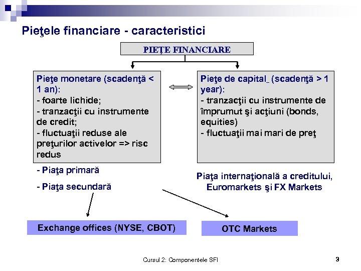 Pieţele financiare - caracteristici PIEŢE FINANCIARE Pieţe monetare (scadenţă < 1 an): - foarte
