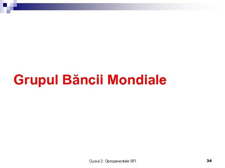 Grupul Băncii Mondiale Cursul 2: Componentele SFI 34