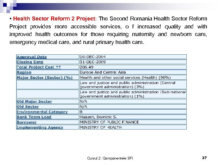 • Health Sector Reform 2 Project: The Second Romania Health Sector Reform Project