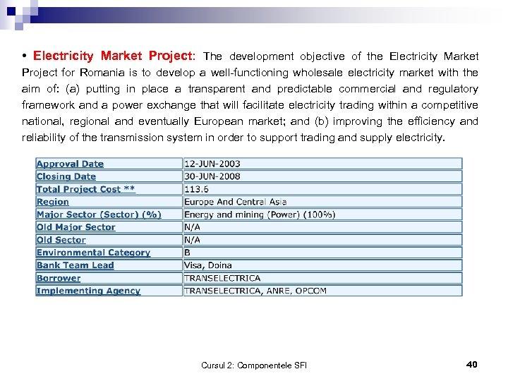 • Electricity Market Project: The development objective of the Electricity Market Project for