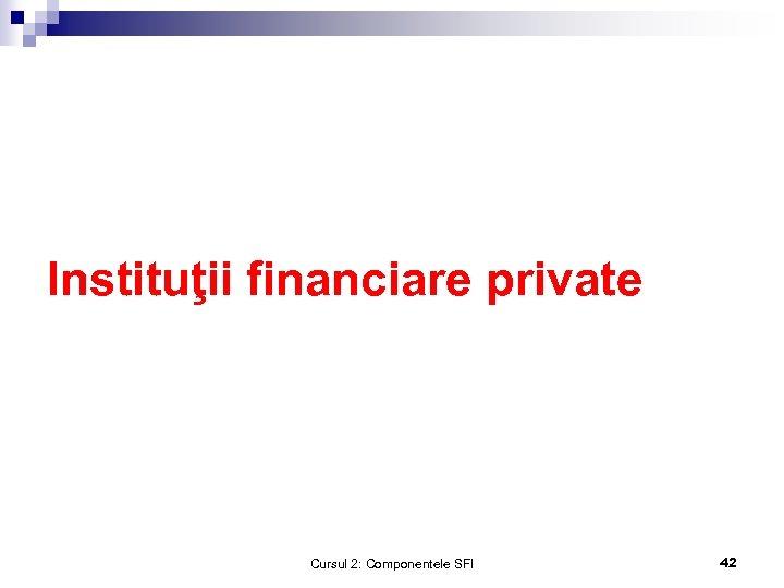 Instituţii financiare private Cursul 2: Componentele SFI 42