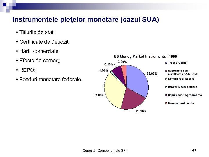 Instrumentele pieţelor monetare (cazul SUA) • Titlurile de stat; • Certificate de depozit; •