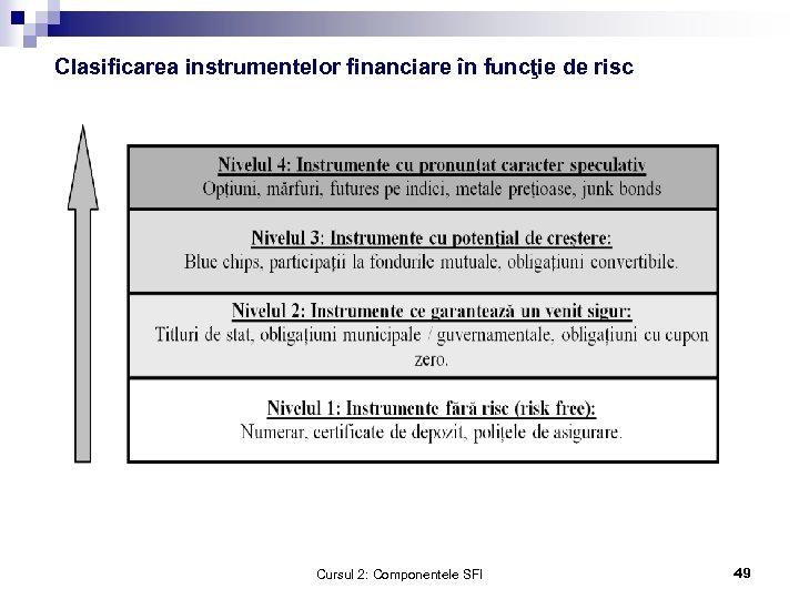 Clasificarea instrumentelor financiare în funcţie de risc Cursul 2: Componentele SFI 49