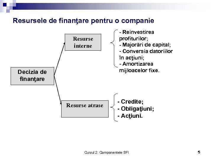 Resursele de finanţare pentru o companie Resurse interne Decizia de finanţare Resurse atrase -