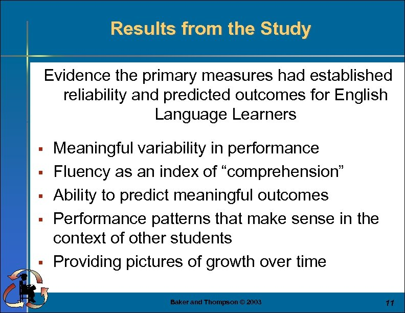 Results from the Study Evidence the primary measures had established reliability and predicted outcomes
