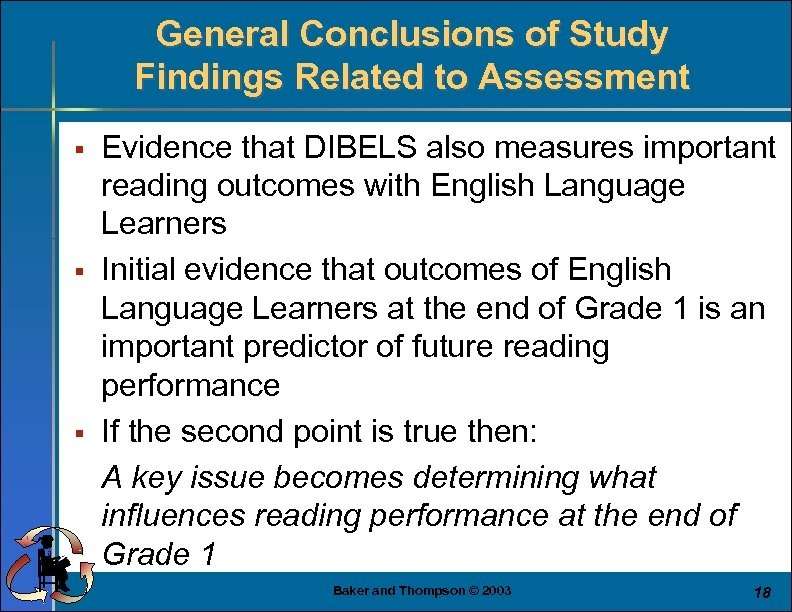 General Conclusions of Study Findings Related to Assessment § § § Evidence that DIBELS