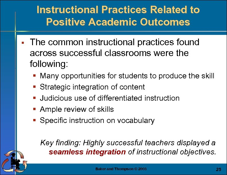 Instructional Practices Related to Positive Academic Outcomes § The common instructional practices found across