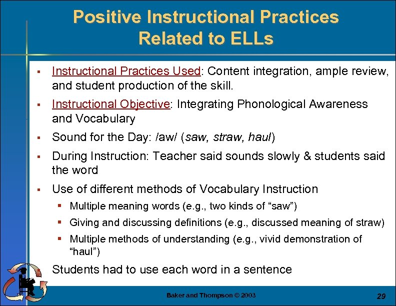 Positive Instructional Practices Related to ELLs § Instructional Practices Used: Content integration, ample review,