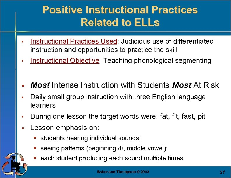 Positive Instructional Practices Related to ELLs § Instructional Practices Used: Judicious use of differentiated