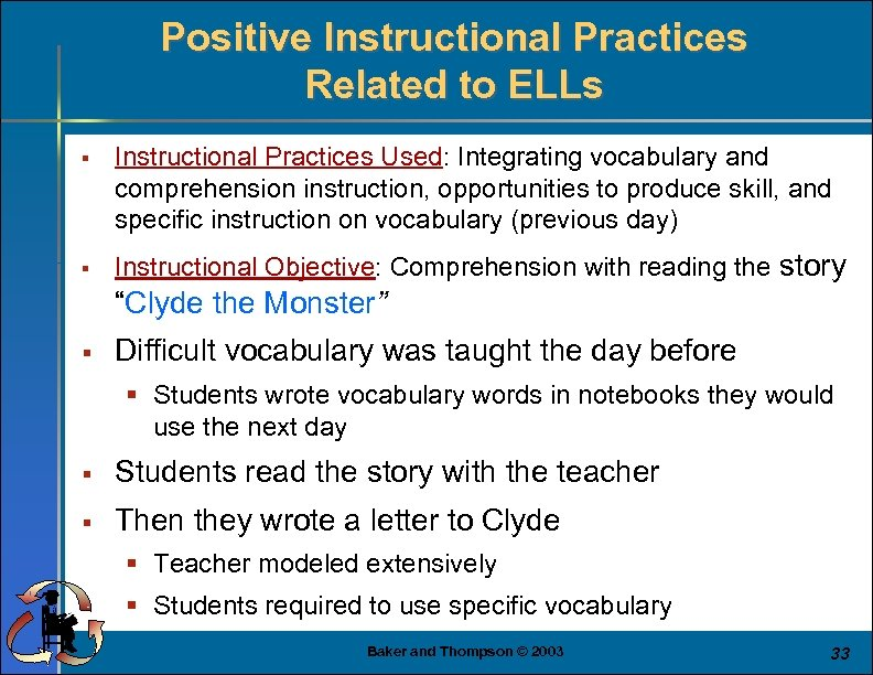 Positive Instructional Practices Related to ELLs § § Instructional Practices Used: Integrating vocabulary and
