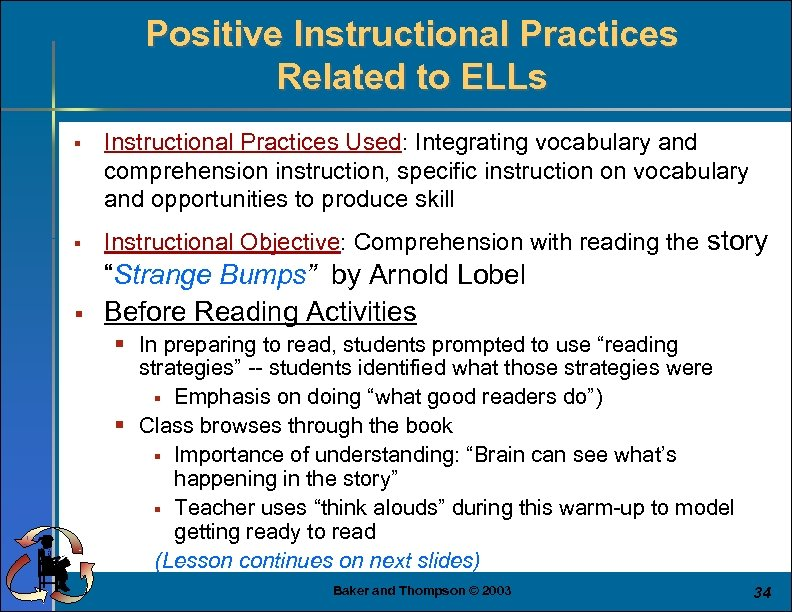 Positive Instructional Practices Related to ELLs § Instructional Practices Used: Integrating vocabulary and comprehension