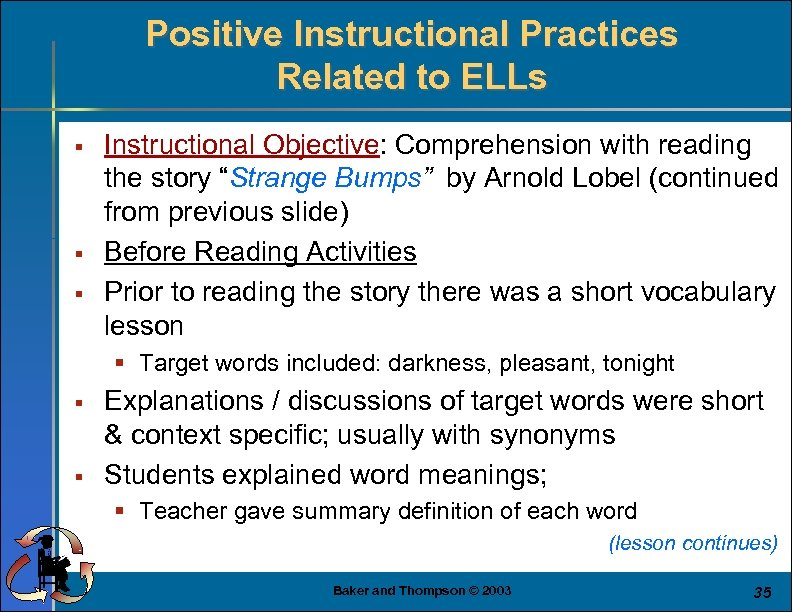 Positive Instructional Practices Related to ELLs § § § Instructional Objective: Comprehension with reading
