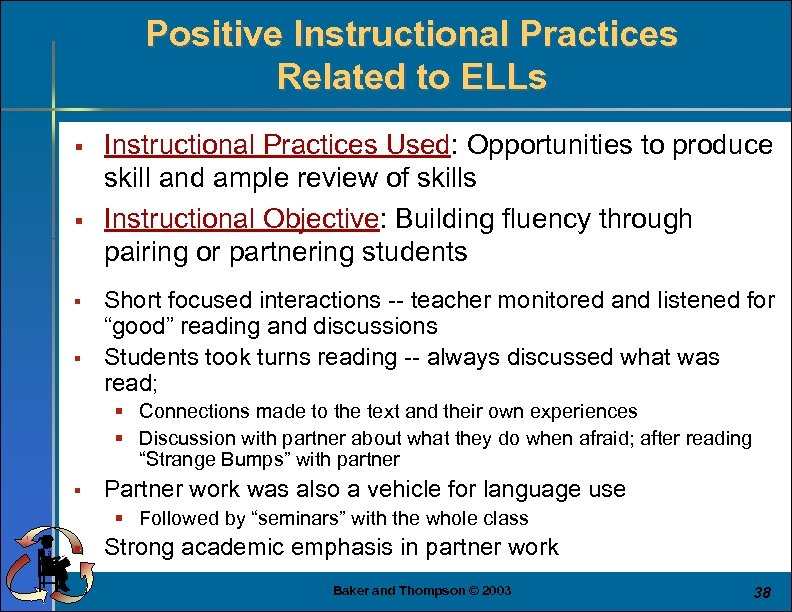 Positive Instructional Practices Related to ELLs § § Instructional Practices Used: Opportunities to produce