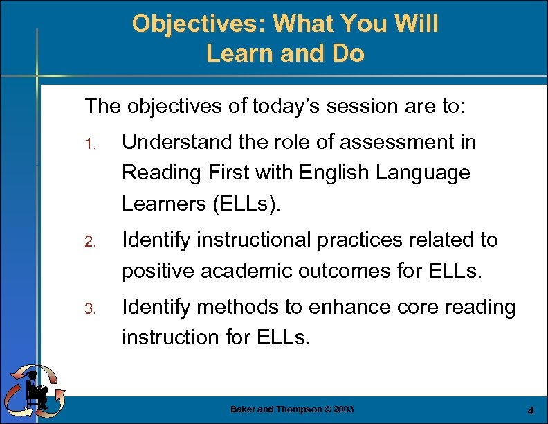 Objectives: What You Will Learn and Do The objectives of today's session are to: