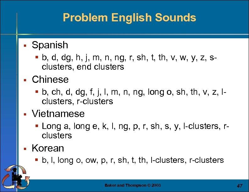 Problem English Sounds § Spanish § b, d, dg, h, j, m, n, ng,