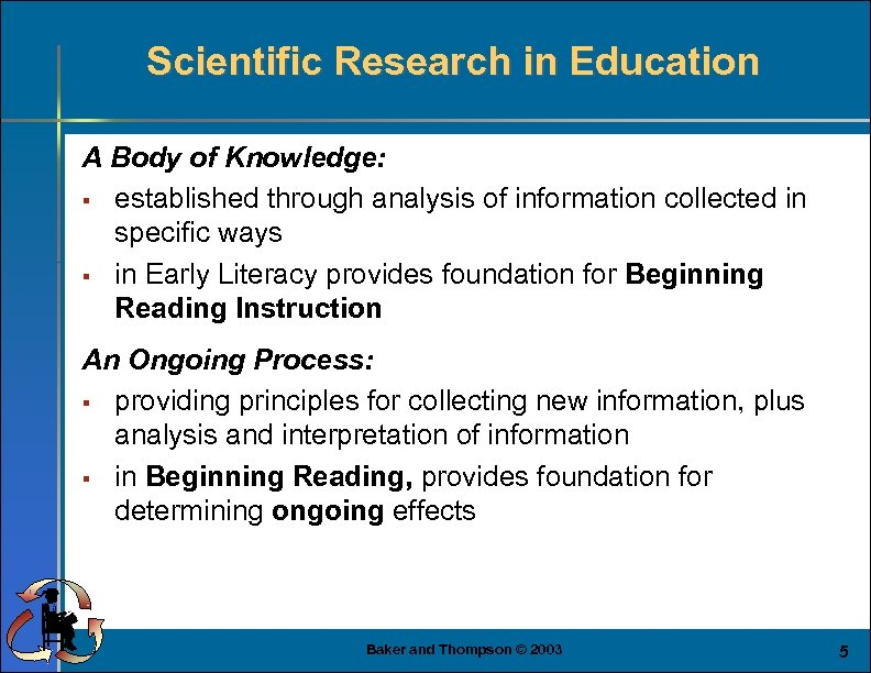 Scientific Research in Education A Body of Knowledge: § established through analysis of information